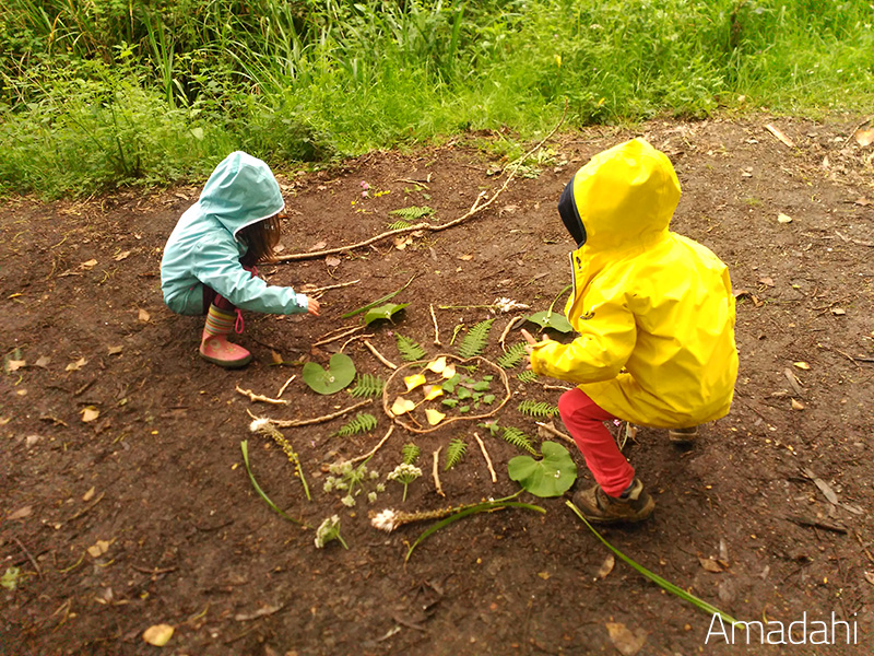 Land Art with Kids- mandalas