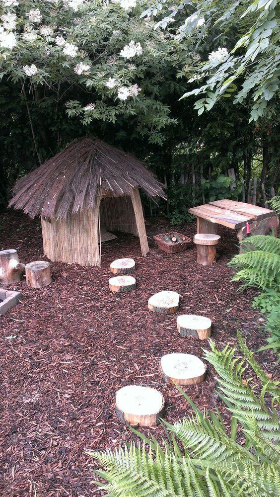 choza de brezo y madera