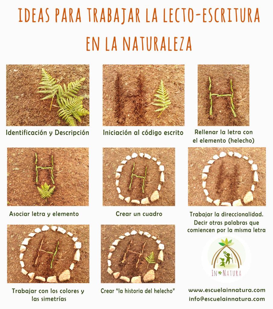 Lectoescritura con materiales naturales