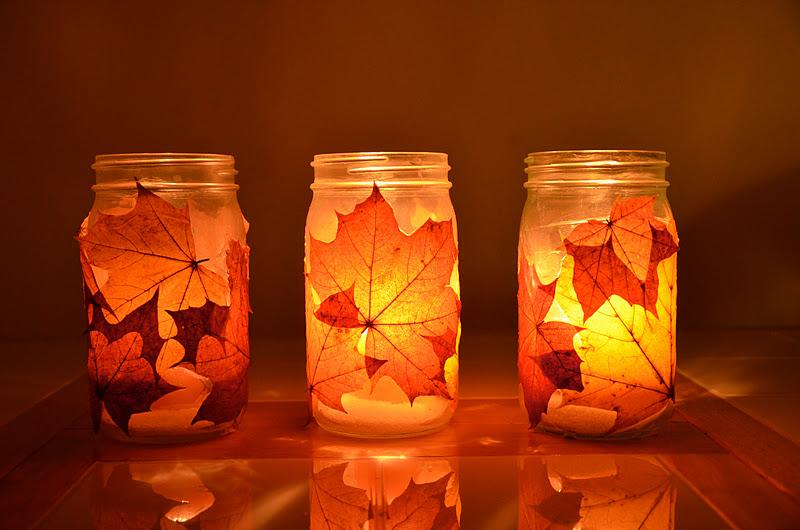 farolillos o portavelas con hojas